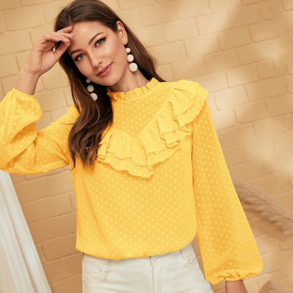 Layered Ruffle Bishop Sleeve Swiss Dot Blouse, Yellow bright