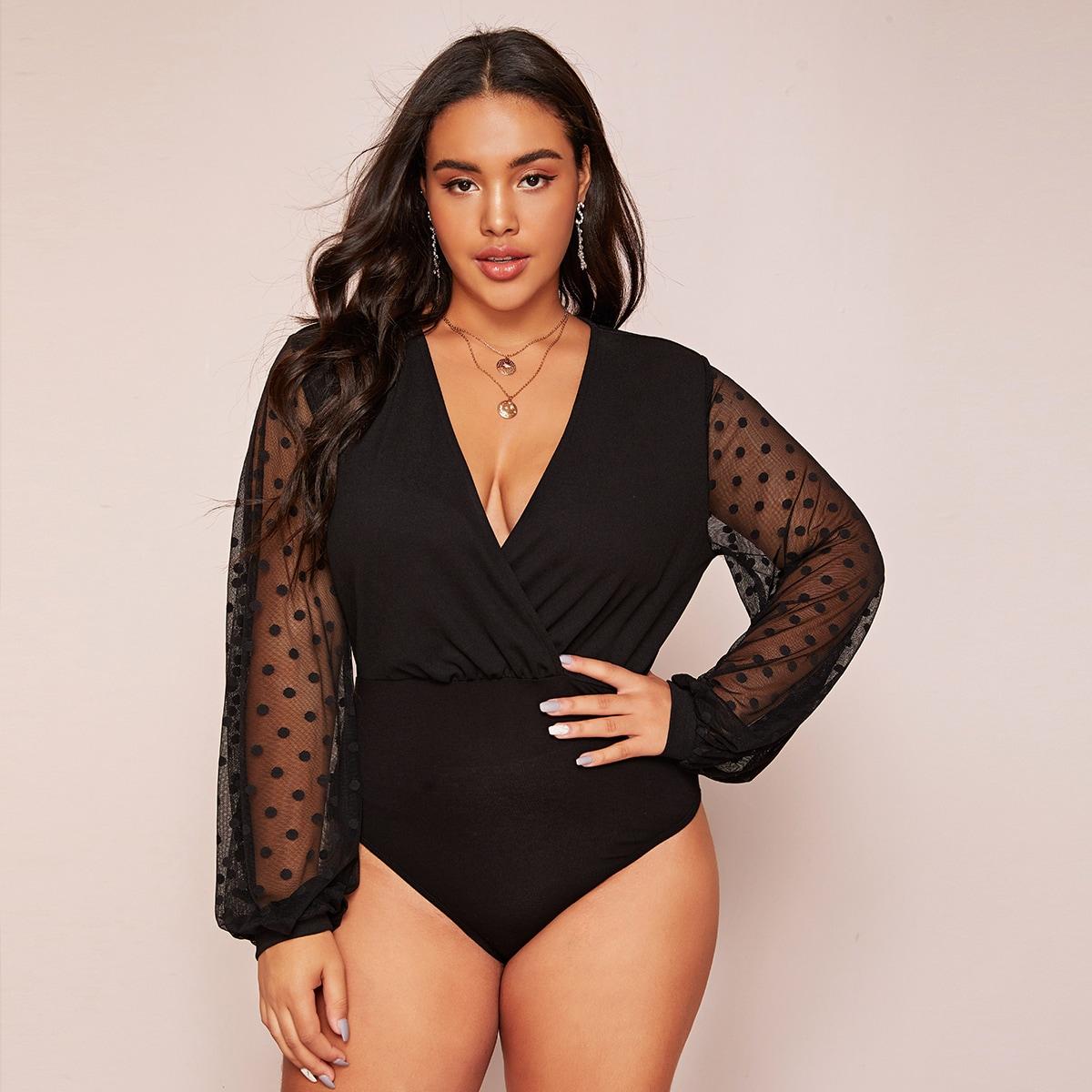 Zwart Sexy Vlak Bodysuits grote maten Contrast mesh