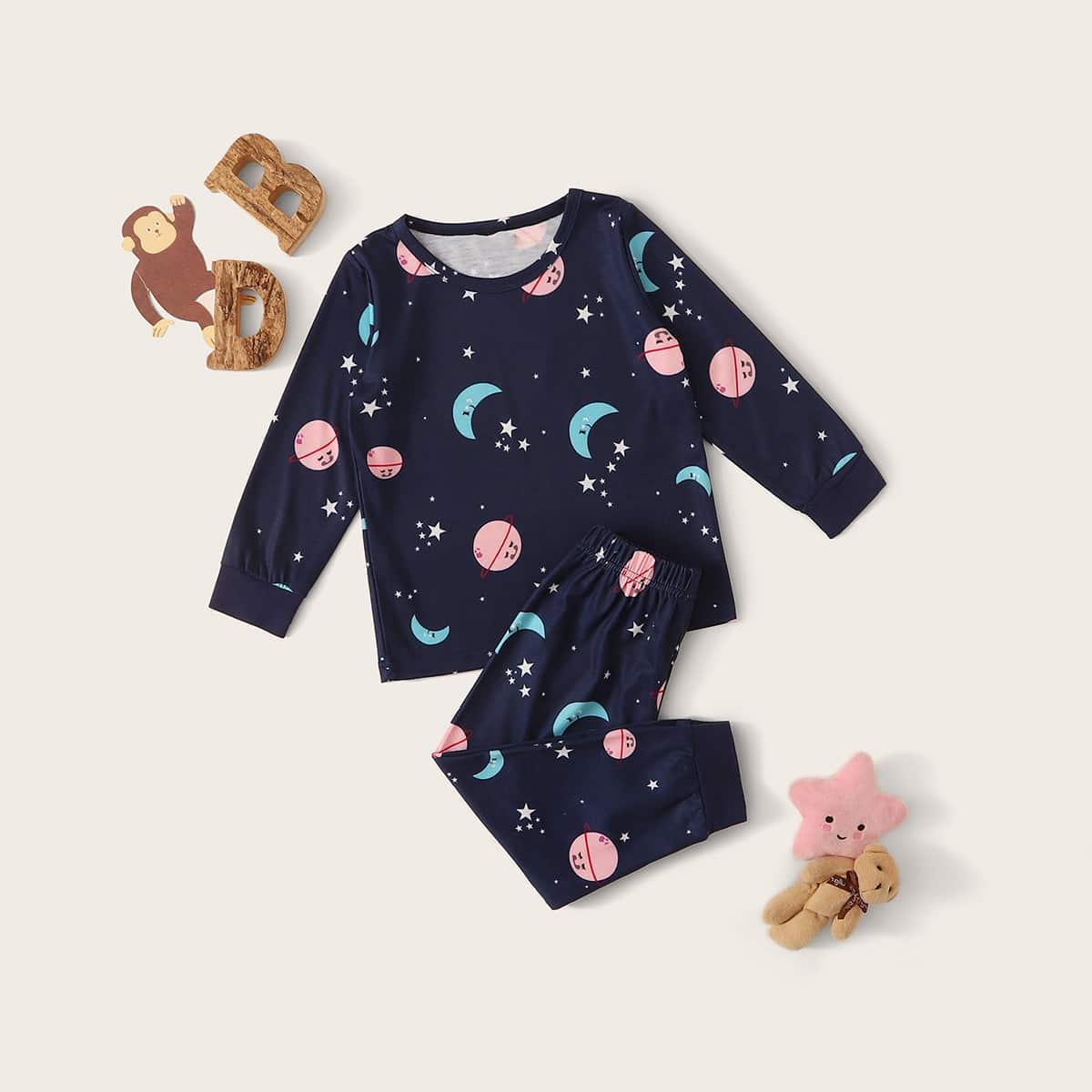 Пижама с графическим принтом для девочек от SHEIN