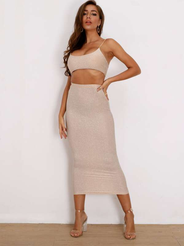 Joyfunear Glitter Crop Cami & Bodycon Skirt Set