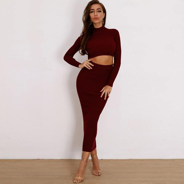 Joyfunear Mock-neck Rib-knit Crop Sweater & Pencil Skirt Set