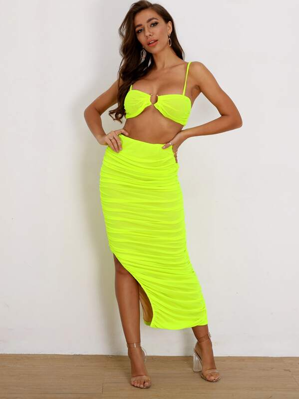 Joyfunear Neon Lime Crop Cami & Ruched Slit Hem Skirt Set