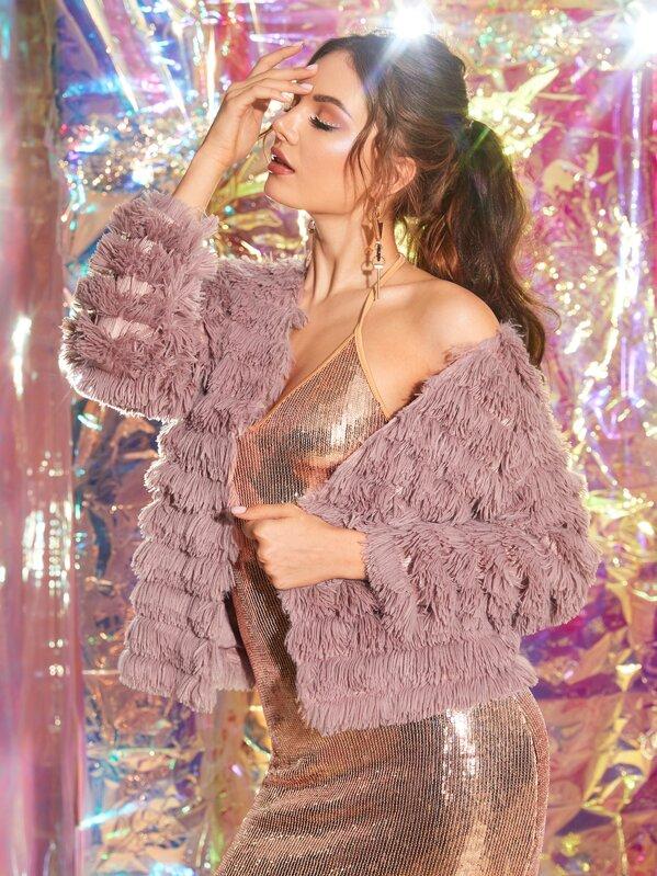Faux Fur Open Front Solid Coat, Vlada