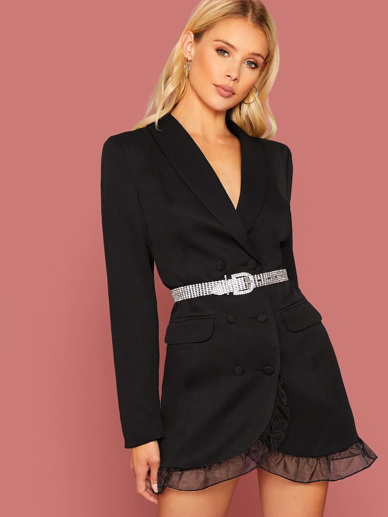 Платье-пиджак с отделкой из органзы без пояса