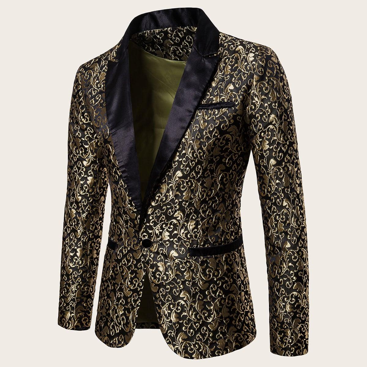Мужской пиджак на пуговицах с принтом