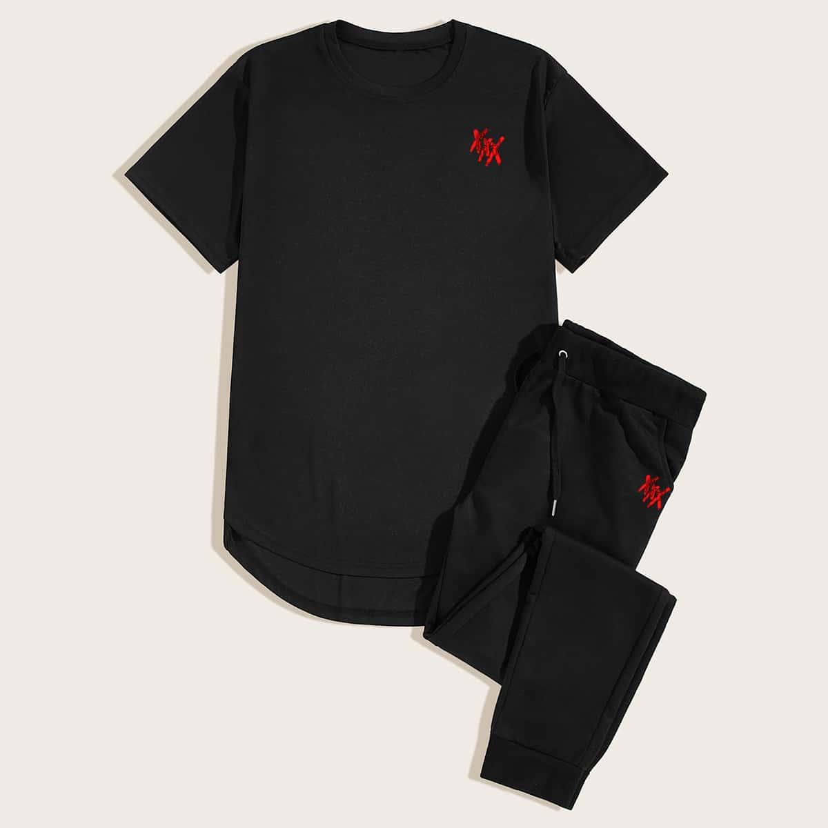 Мужские спортивные брюки и асимметричная футболка от SHEIN