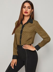 Graphic Print Button Through Blouse