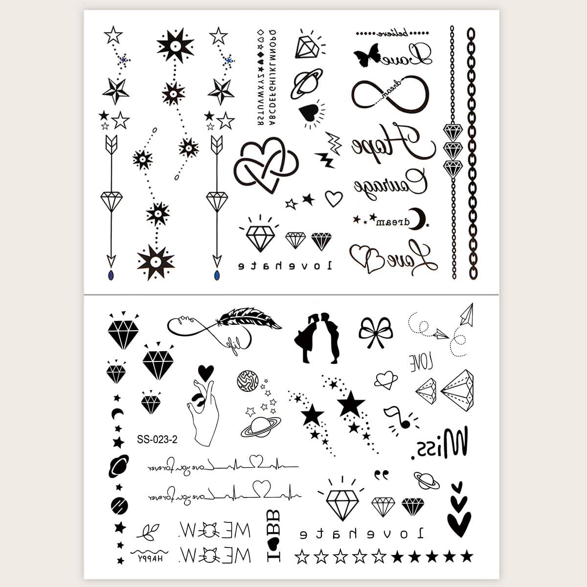 Heart & Star Pattern Tattoo Sticker 2pcs