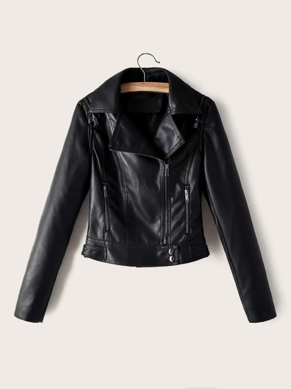 Zip Up PU Leather Biker Jacket