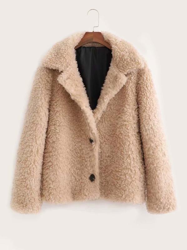 Lapel Neck Button Through Teddy Coat