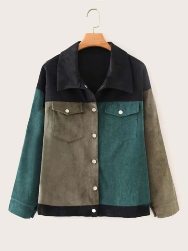 Cut And Sew Button Through Corduroy Coat