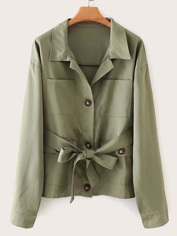 Button Through Self Tie Coat