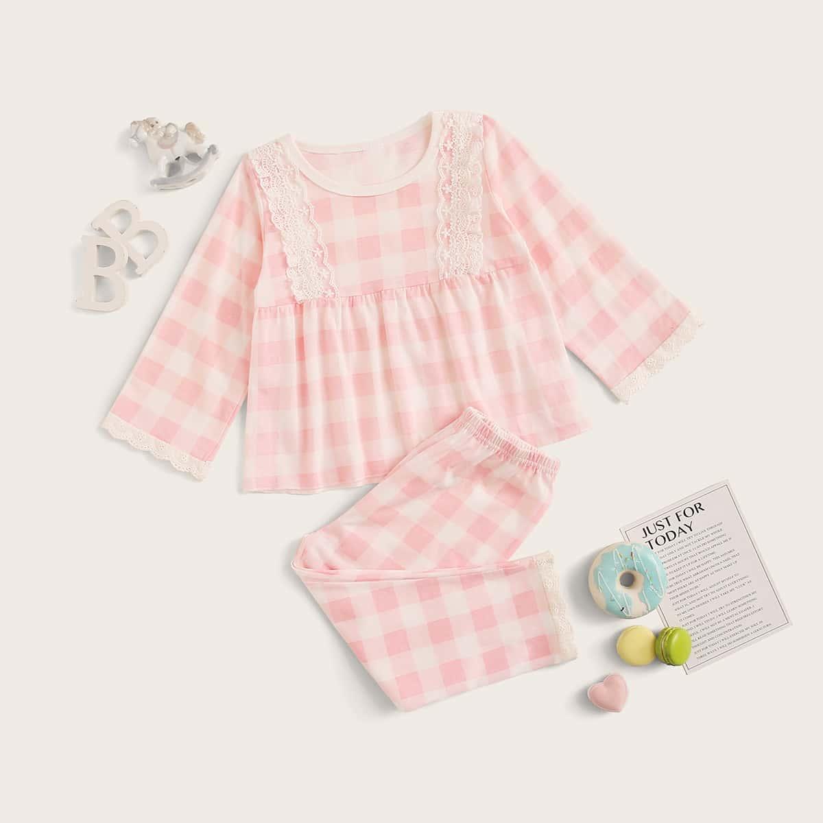 Пижама в клетку с кружевной отделкой для девочек от SHEIN