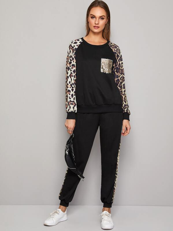 Contrast Leopard Sequin Panel Sweatshirt With Sweatpants, Rasa