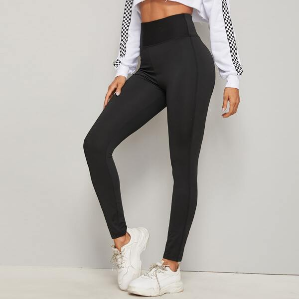 Wide Waistband Solid Skinny Leggings, Black