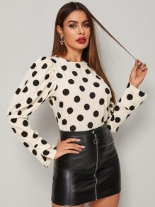 Polka Dot Leg-of-mutton Sleeve Blouse