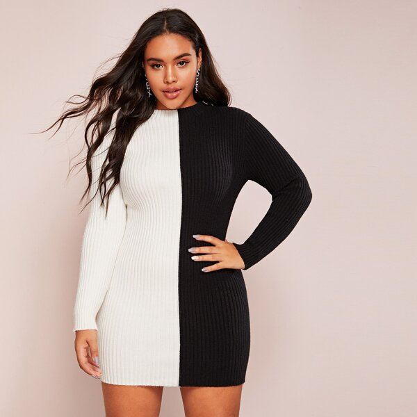Plus Two Tone Ribbed Knit Bodycon Sweater Dress