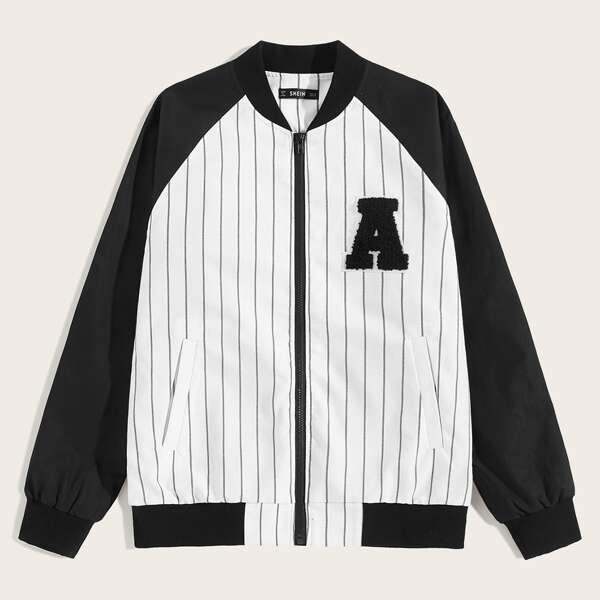 Men Zip Up Patched Detail Striped Bomber Jacket, Black and white