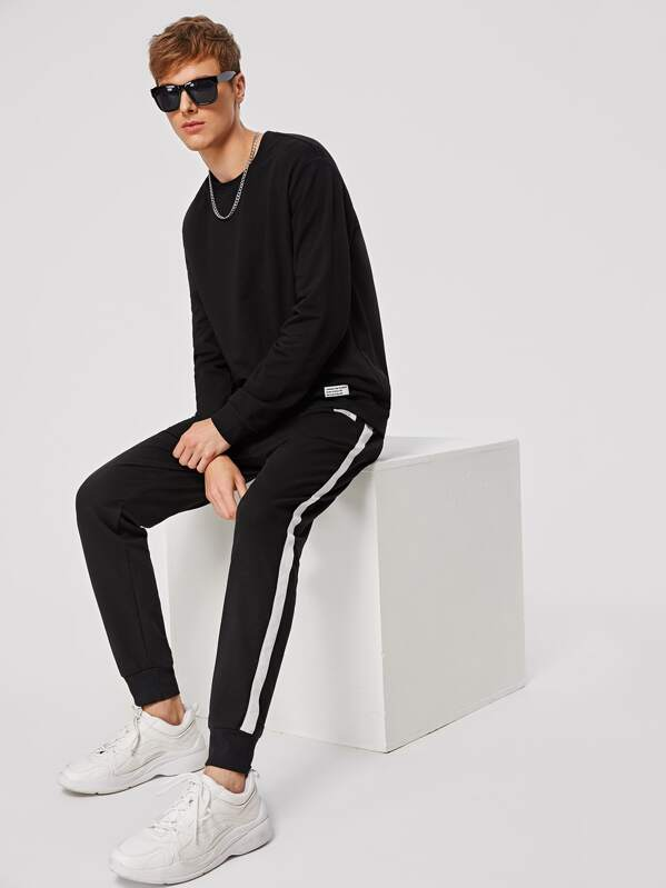 Men Patched Detail Pullover and Contrast Sideseam Sweatpants Set, Black, Aaron