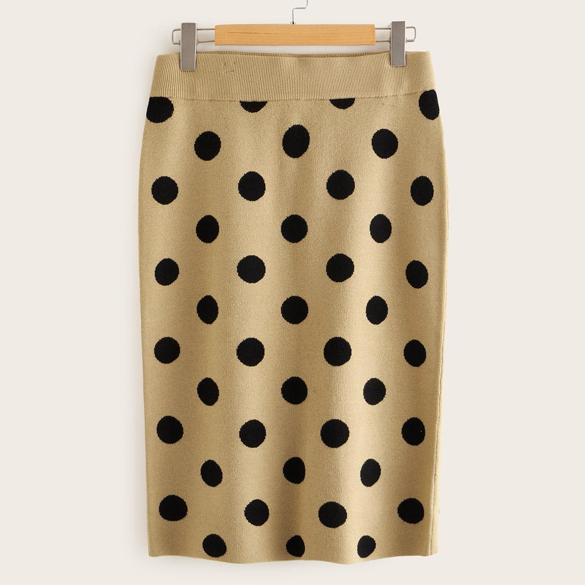 SHEIN / Pullover Rock in Übergröße mit breitem Taillenband und Punkten Muster