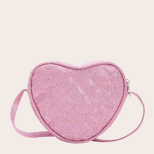 Girls Heart Shape Quilted Glitter Bag