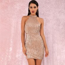 LOVE&LEMONADE Zip Back Sequin Bodycon Halter Dress