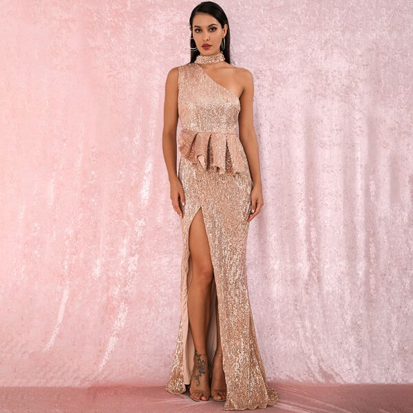 LOVE&LEMONADE One Shoulder Split Thigh Ruffle Sequin Prom Dress, Nude pastel