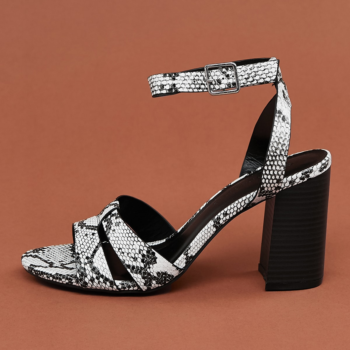 SHEIN / Dual Cut Out Ankle Strap Block Heel Snake Sandals