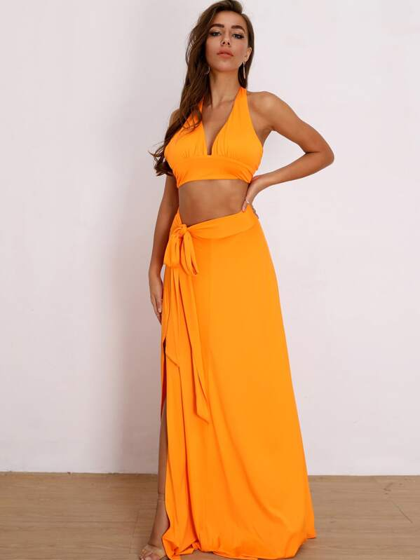 Joyfunear Neon Orange Tie Back Halter Top & Knotted Skirt Set
