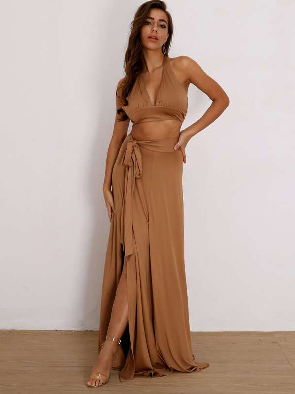 Joyfunear Tie Back Halter Top & Split Thigh Knot Skirt Set