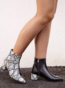 Snakeskin Panel Chunky Heel Ankle Boots