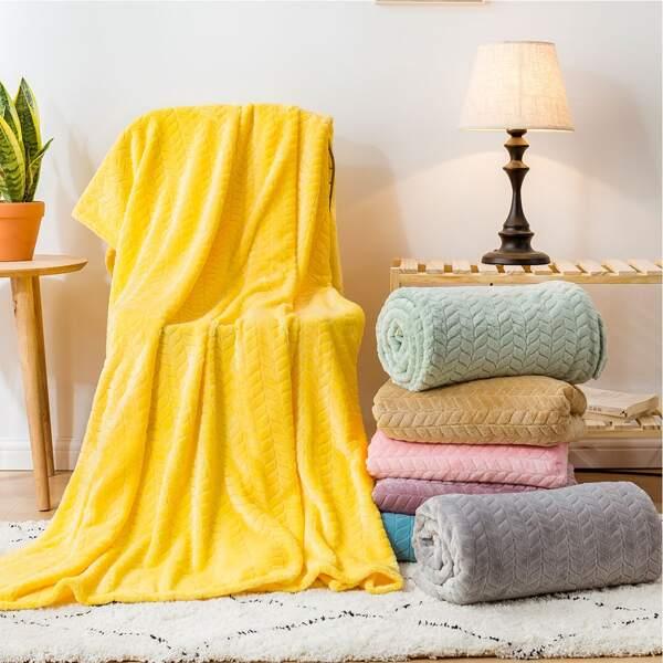 1pc Solid Plush Blanket