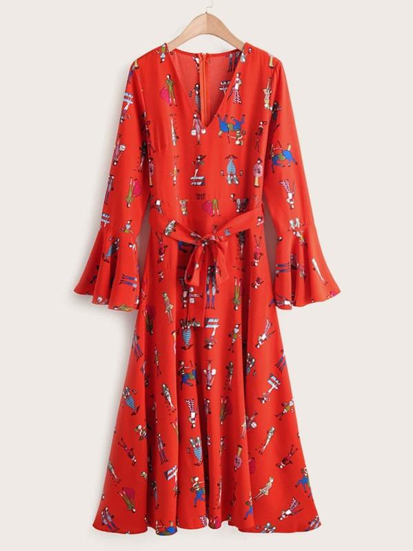 Figure Graphic Self Tie Flounce Sleeve Dress