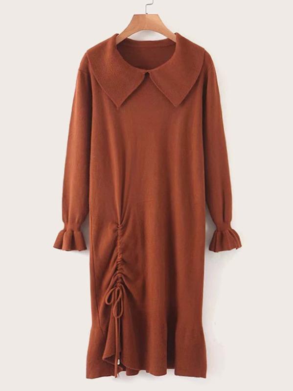 Drawstring Hem Flounce Sleeve Sweater Dress
