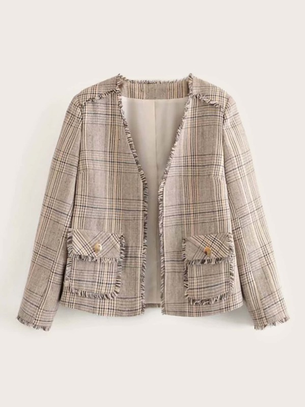 Tweed Raw Hem Buttoned Pocket Front Jacket