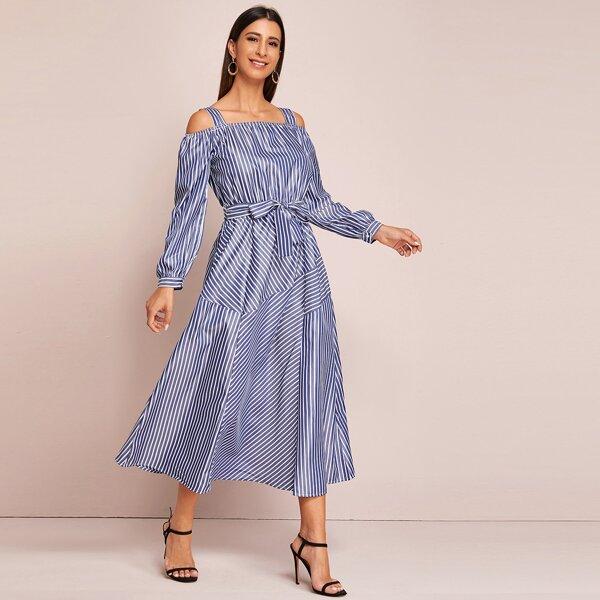 Striped Cold Shoulder Self Tie Dress, Blue
