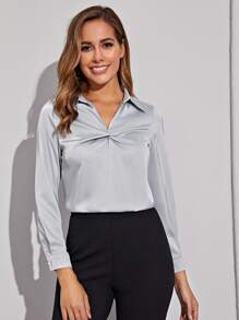 Twist Front Satin Blouse