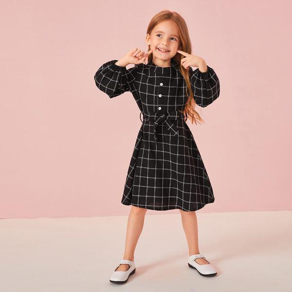 Toddler Girls Bishop Sleeve Self Tie Plaid Dress, Black