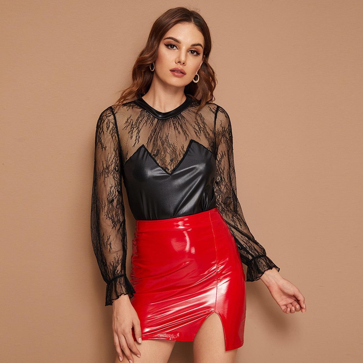 SHEIN / Schwarz Durchsichtige Spitze Einfarbig Sexy Blusen