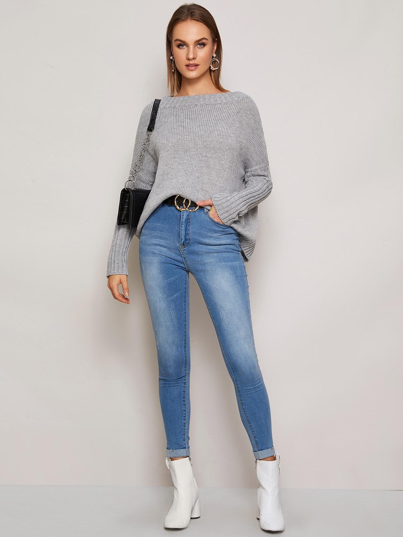 Однотонный трикотажный свитер