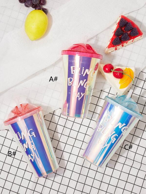 1pc Letter Graphic Laser Straw Bottle