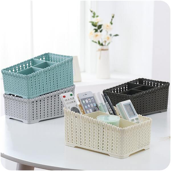 1pc Faux Rattan Multi-compartment Storage Basket