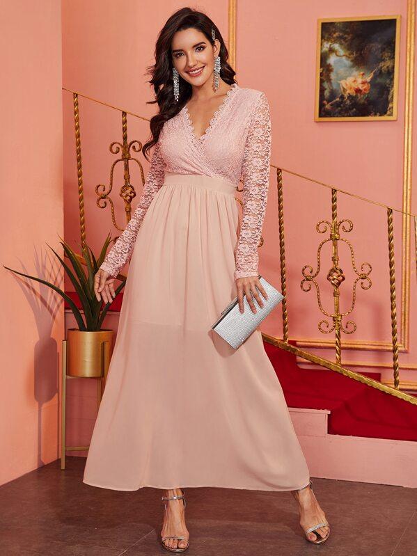 Surplice Neck Contrast Lace A-line Dress, Juliana