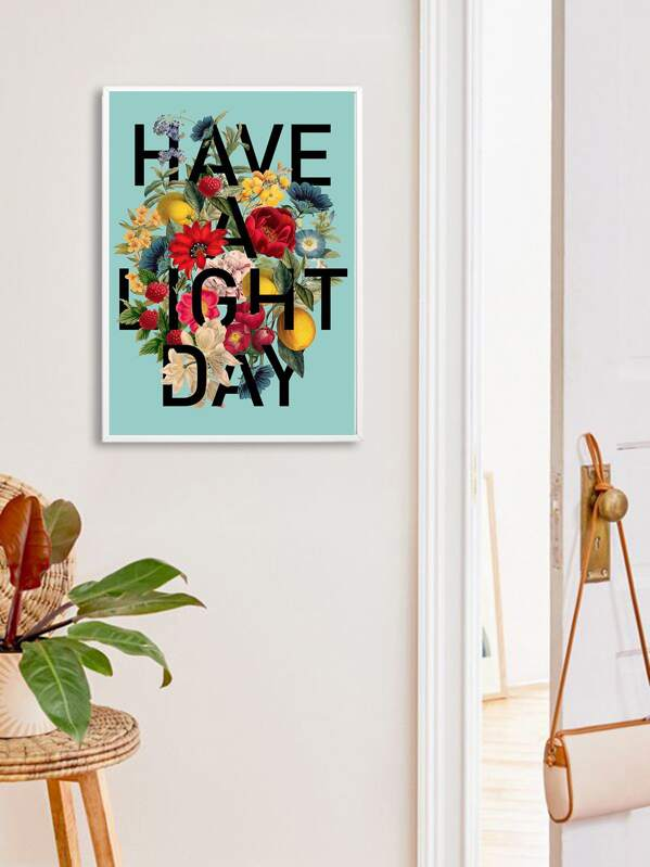 Flower & Letter Wall Art Print Without Frame