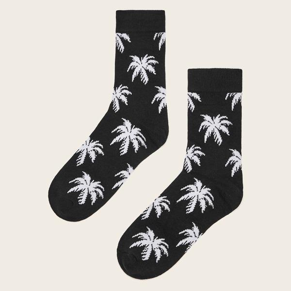 1pair Coconut Tree Pattern Socks