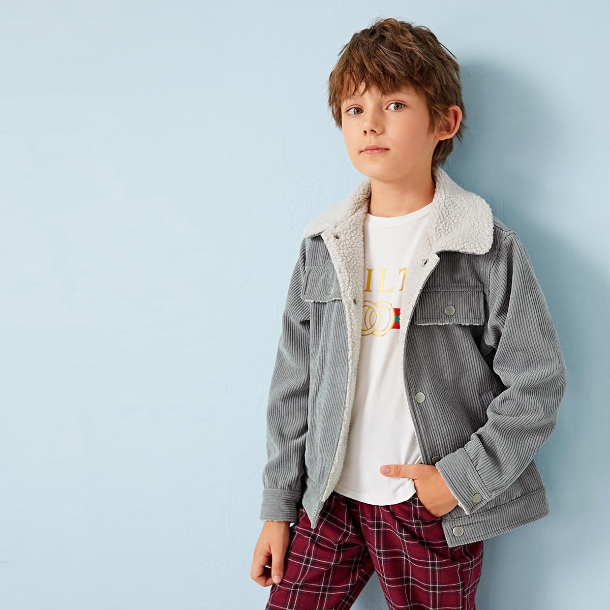 Вельветовая куртка с контрастной подкладкой для мальчиков от SHEIN