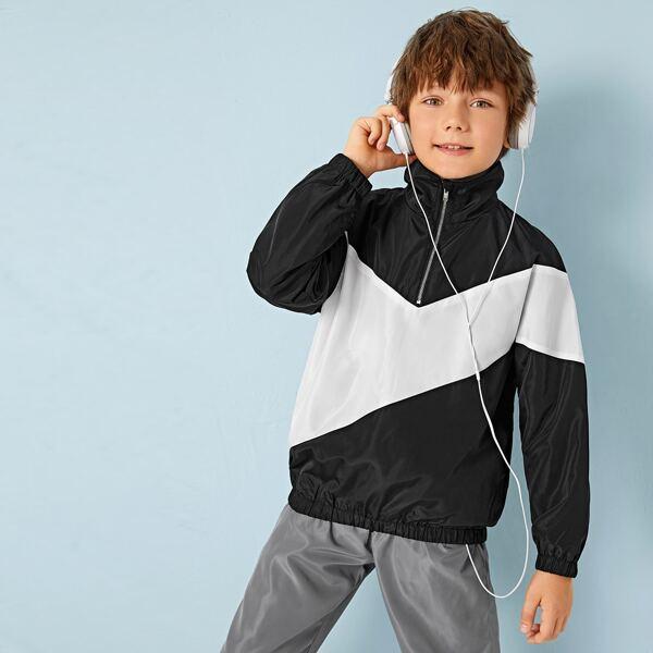 Boys Two Tone Half Zipper Wind Jacket