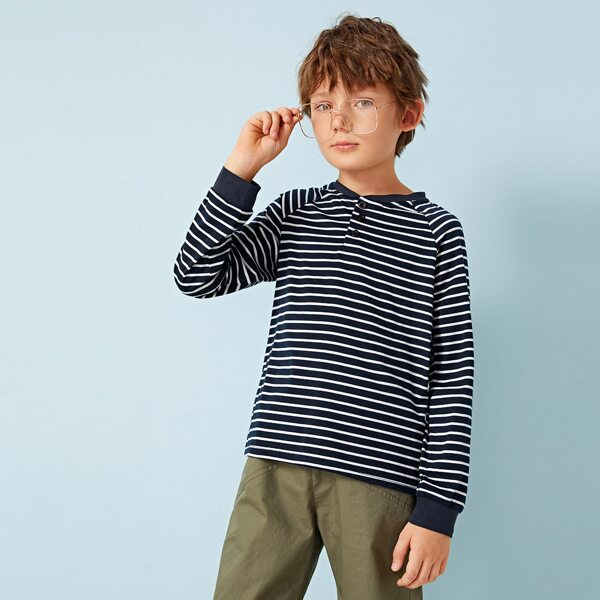 Boys Raglan Sleeve Striped Polo Shirt
