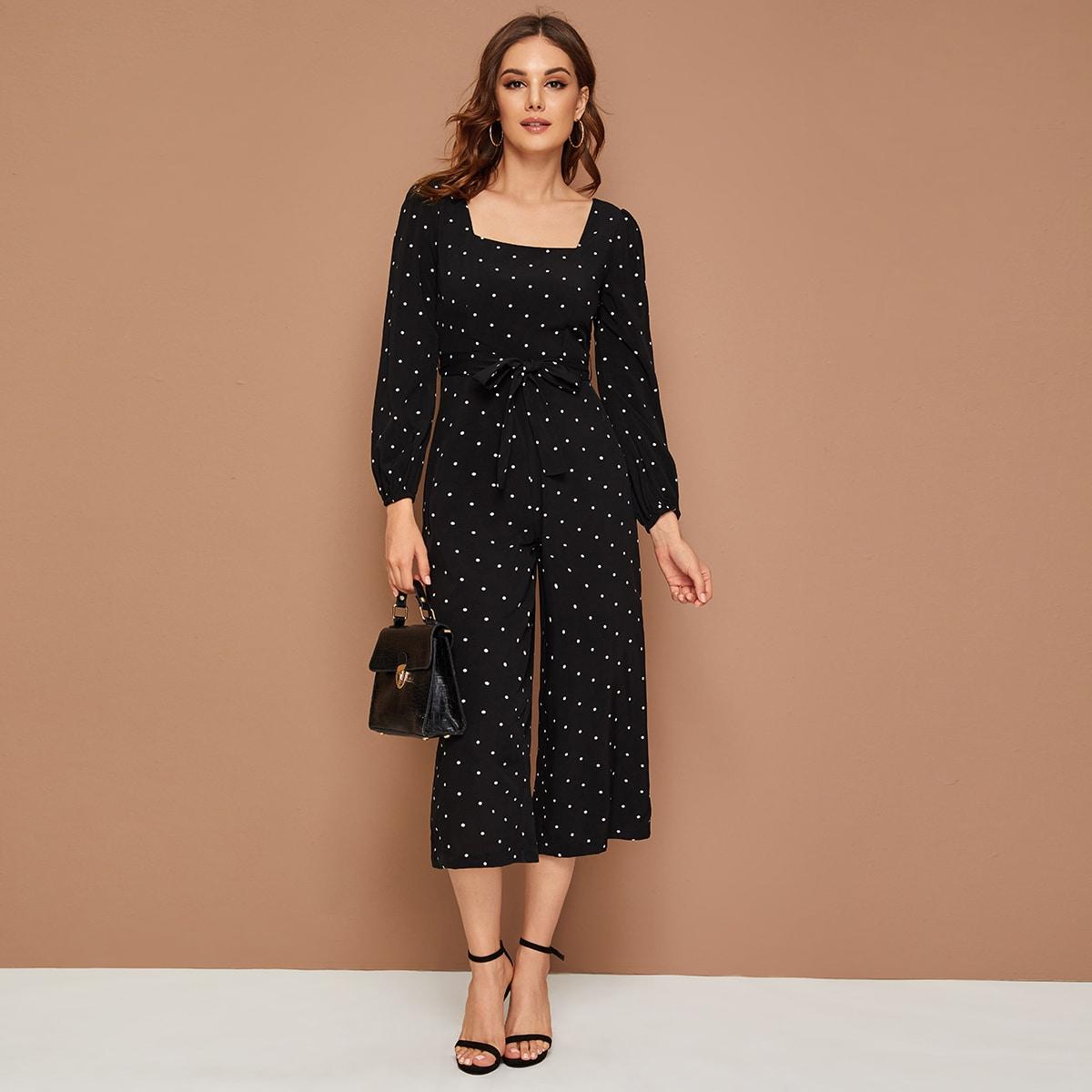 SHEIN / Culotte Jumpsuit mit quadratischem Kragen, Punkten Muster und Gürtel