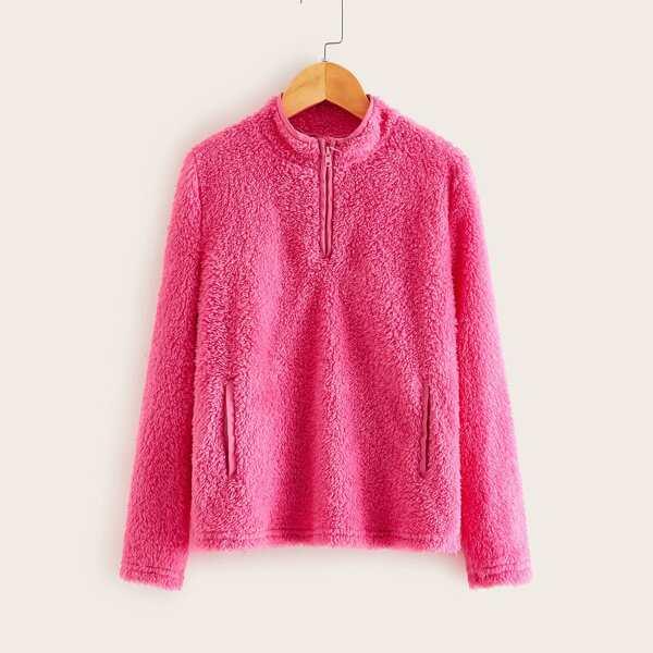 Girls Neon Pink Zip Half Placket Teddy Sweatshirt